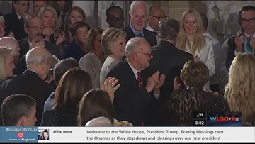 President Trump salutes Hillary Clinton at luncheon