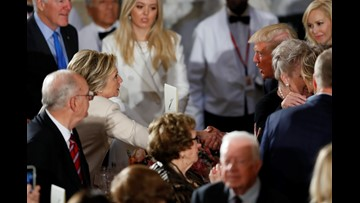 President Trump salutes Hillary. No, really