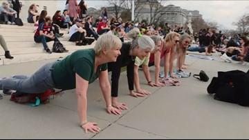 People across U.S. and at Supreme Court do planks in honor of RBG's birthday