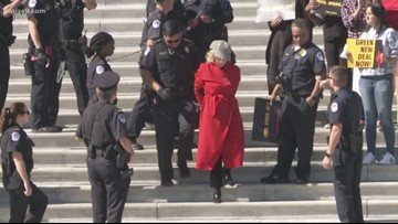 Jane Fonda, Sam Waterston arrested during climate change protest in front of Library of Congress