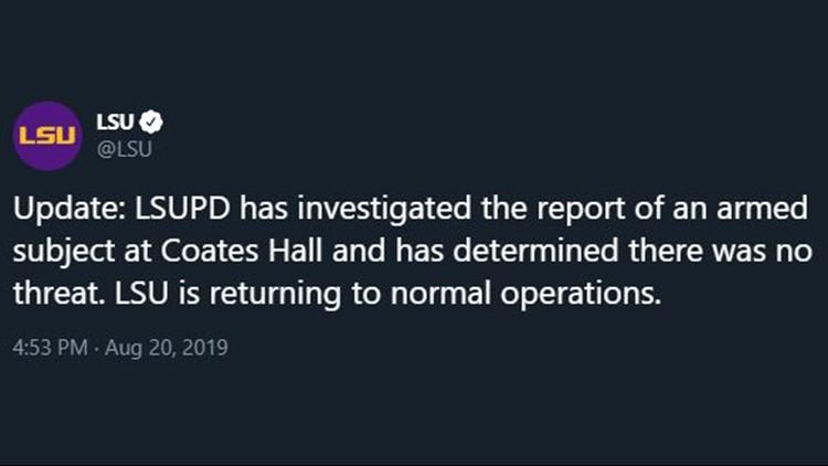 LSU: 'No threat' found after 'Run, Hide, Fight' tweet